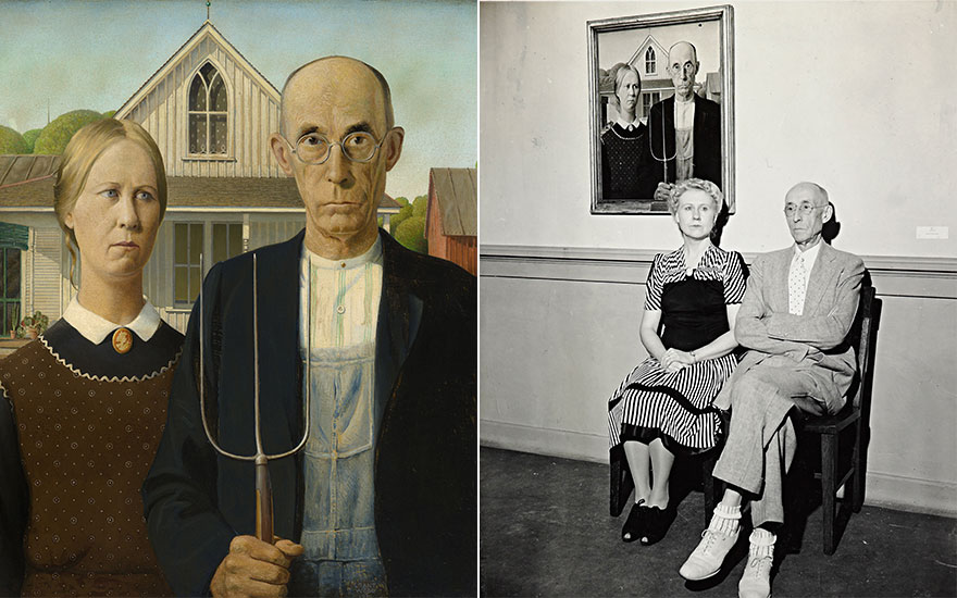 Grant Wood (1891-1942), American Gothic, 1930 (detail). Oil on Beaver Board. The Art Institute of Chicago, IL, USA  Friends of American Art Collection  Bridgeman Images. Nan Wood Graham and Dr.