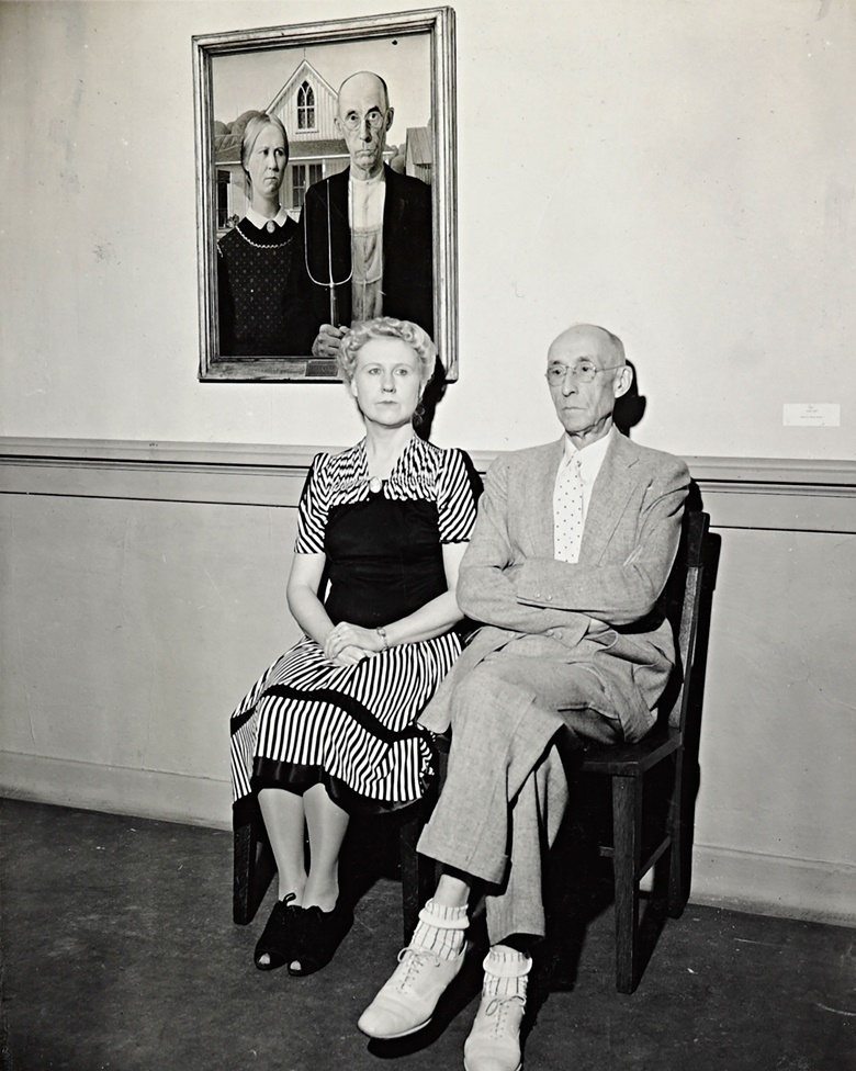 Nan Wood Graham and Dr. Byron McKeeby, at the memorial exhibition, Gallery at the Cedar Rapids Public Library. September 1942. Gelatin silver print. Courtesy of the Figge Art Museum, City of Davenport Art Collection, Grant Wood Archive, Friends of Art Acquisition Fund, SB‐8
