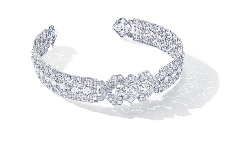A superb Art Deco diamond bandeau, Cartier, cushion, old and baguette-cut diamonds, platinum (French marks), detachable for wear as a choker, as two bracelets or as a brooch, circa 1920. Bandeau 40.5 cm, choker 34.0 cm, bracelets 17.8 cm, brooch 6.0 cm, brooch signed Cartier made in France, brooch and bracelets nos. 7071c. Sold for CHF 1,065,000 on 12 November 2019 at Christie's in