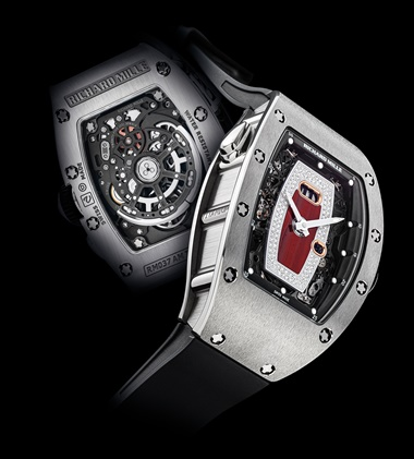 Richard Mille. A lady's fine and attractive titanium and diamond-set automatic tonneau-shaped semi-skeletonised wristwatch with date and red jasper dial, signed Richard Mille, ref. RM037 AM TI, circa 2015. Sold for HK$625,000 on 23-27 November 2019 at Christie's in Hong Kong