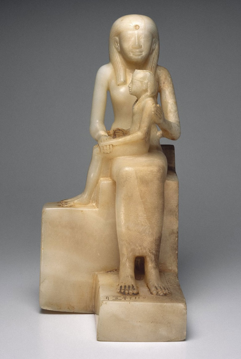 Statue of Queen Ankhnes-meryre II and her son, Pepy II, c. 2288-2224 or 2194 B.C.E. Egyptian alabaster. 39.2 x 24.9 cm. Brooklyn Museum, Charles Edwin Wilbour Fund, 39.119. Photo Brooklyn Museum