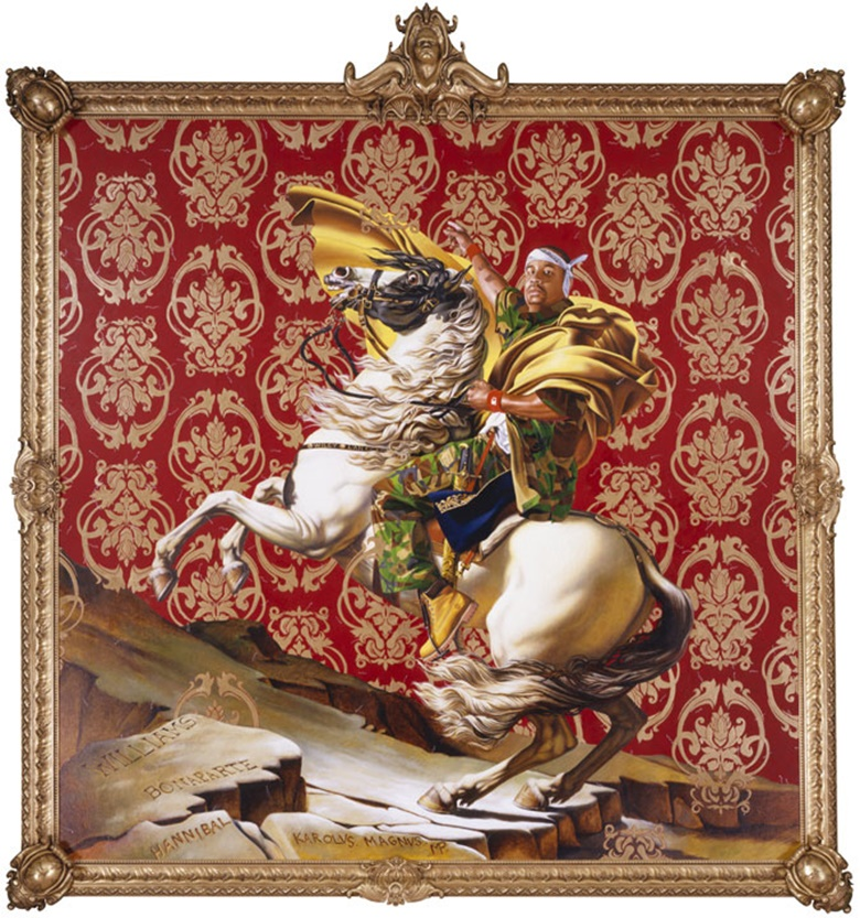 Kehinde Wiley, Napoleon Leading the Army Over the Alps, 2005. Artwork © 2005 Kehinde Wiley. Used by permission. Collection of the Brooklyn Museum. Courtesy of Roberts Projects, Culver City, California; Sean Kelly, New York; Galerie Daniel Templon, Paris; and Stephen Friedman Gallery, London