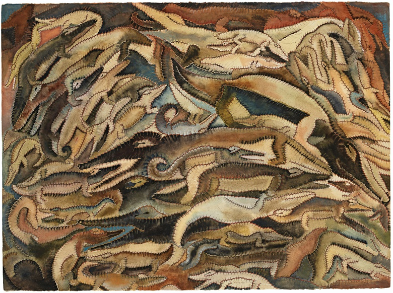 Francisco Toledo (1940-2019), Cocodrilos de a montón, 1974. Gouache and ink on paper. 22 x 30  in (55.9 x 76.2  cm). Estimate $70,000-90,000. Offered in Latin American Art on 20-21 November 2019 at Christie's in New York