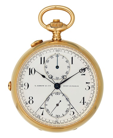 L. Leroy & Cie. A split seconds chronograph Hgers á Paris, No. 16004 & 26490, circa 1920, formerly belonging to Ernest Hemingway. Sold for $43,750 on 12 December at Christie's in New York