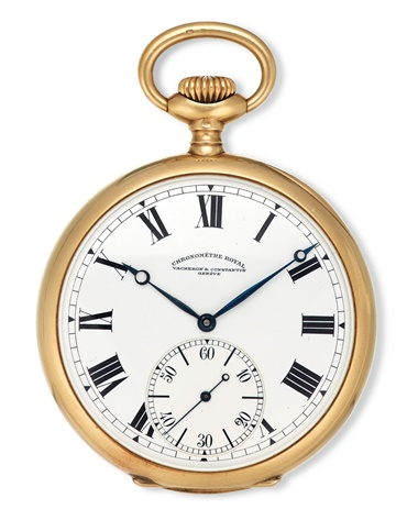 A lot of two 18k gold openface pocket watches. Vacheron Constantin, Chronometre Royal, Genève, movement no. 368520, case no. 228841, manufactured in 1914 and formerly belonging to Charles C. Ritz
