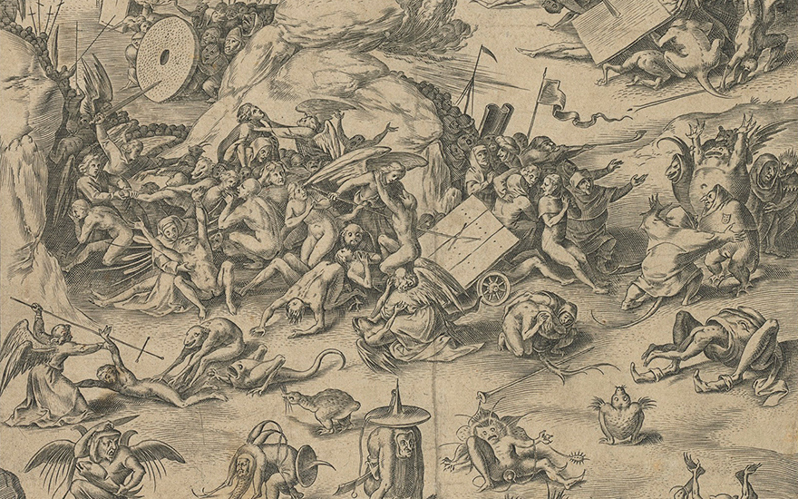 Detail attributed to Cornelis Cort (1533-1578) after a follower of Hieronymus Bosch (circa 1450-1516), The Last Judgement Triptych (The End of Time, Heaven and Hell), circa 1560-65. Engraving on