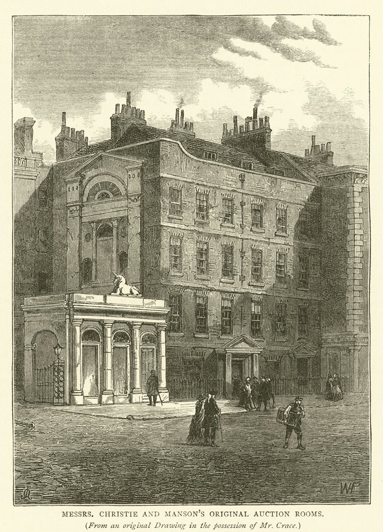 Messrs Christie and Mansons original auction rooms, from an original drawing in the possession of Mr Crace (engraving). Photo Bridgeman Images