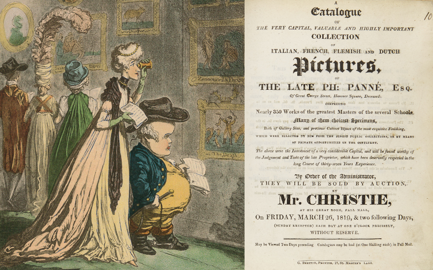 From left James Gillray (1756-1815), A Peep at Christie's, 1796. Catalogue cover from the 1819 sale of The Collection of the late Philippe Panné