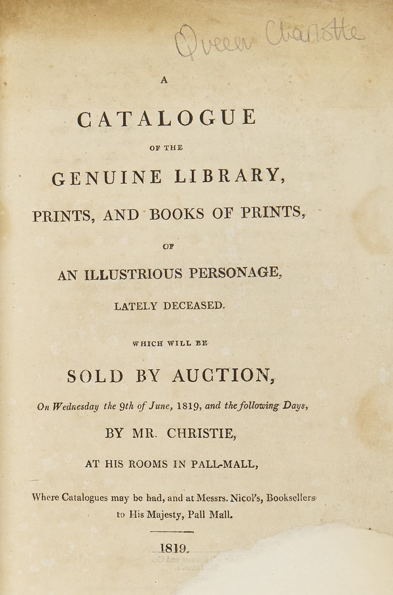 Catalogue cover from the 1819 sale of Queen Charlotte's library