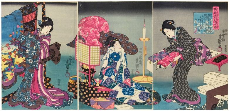 Fashionable brocade patterns of the Imperial Palace, woodblock print, made by Utagawa Kunisada, 1847-1852, Japan. © Victoria and Albert Museum, London