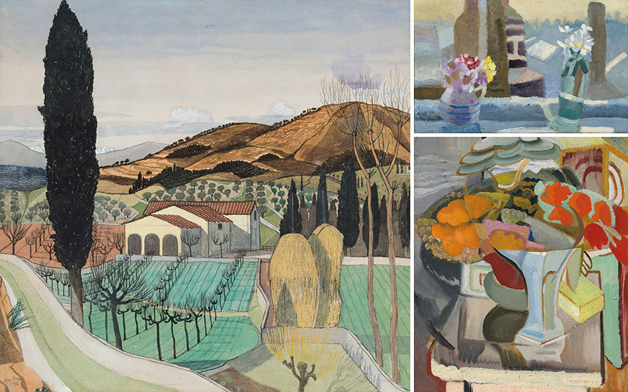 Clockwise from left John Nash, R.A. (1893-1977), Tuscan Landscape, 1915; Winifred Nicholson (1893-1981), The Kings Road, 1925;  Ivon Hitchens (1893-1979), Still Life with Azaleas, 1931. All