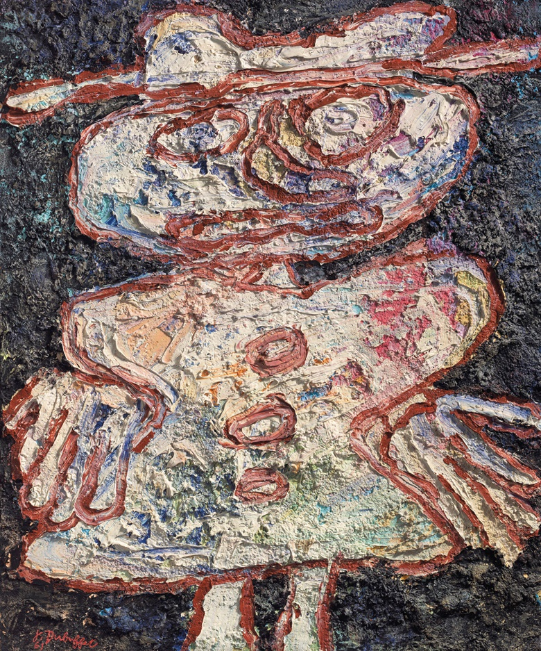 Jean Dubuffet (1901-1985), La robe à boutons (Button Dress), executed on 4 September 1961. Oil on board. 25½ x 21⅛ in (64.7 x 53.7 cm). Sold for £1,571,250 on 12 February 2020 at Christie's in London