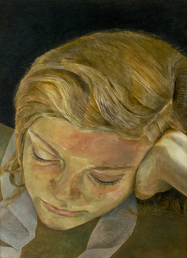 Lucian Freud (1922-2011), Girl Reading, 1952. Oil on copper. 5⅞ x 8 in (15.2 x 20.3 cm). Private Collection. © The Lucian Freud Archive  Bridgeman Images