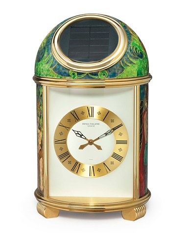 Patek Philippe. A fine and unique gilt brass and cloisonné enamel solar-powered desk clock, signed by Marie-Françoise Martin. Sold for $106,000 on 13 June 2018 at Christie's in New York