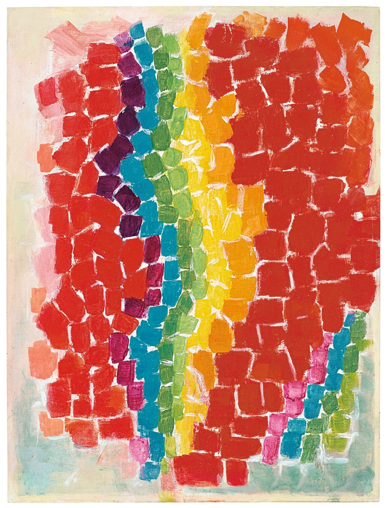 Alma Thomas (1891-1978), Flash of Spring, painted in 1968. Oil on canvasboard. 24 x 18 in (61 x 45.7 cm). Sold for $819,000 on 5 March 2020 at Christie's in New York