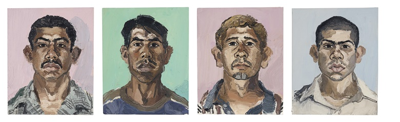 John Sonsini (b. 1950), Fernando Guerrero, Mexico; Francisco Tambriz, Guatemala; Rocky Pivarral, Guatemala C.A.; Rogelio Taurequin (Rogelio No. 2) (Four Works), painted in 2003. Oil on canvas. Each 20 x 16 in (50.8 x 40.6 cm). Sold for $35,000 on 5 March 2020 at Christie's in New York