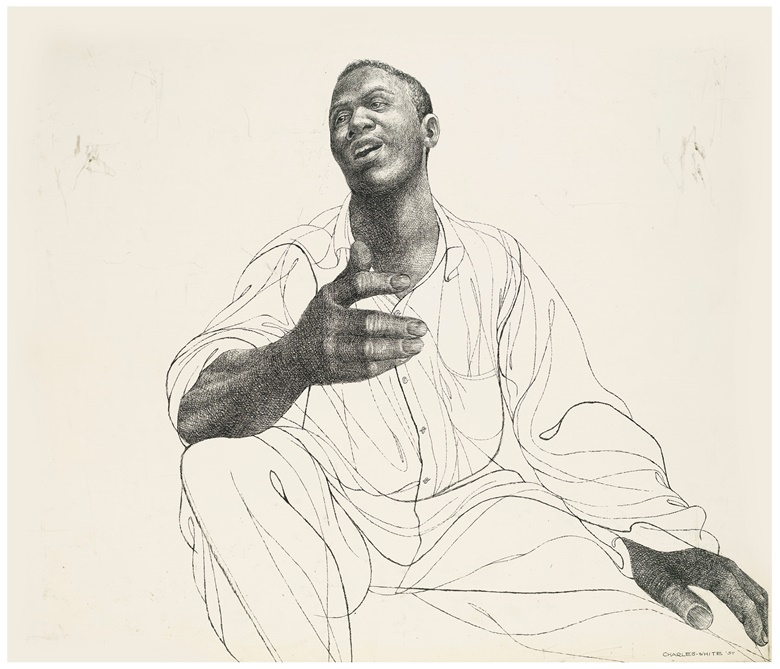 Charles White (1918-1979), Brother John Sellers, executed in 1954. Ink and graphite on illustration board. 25 x 29 in (63.5 x 73.7 cm). Sold for $187,500 on 5 March 2020 at Christie's in New York