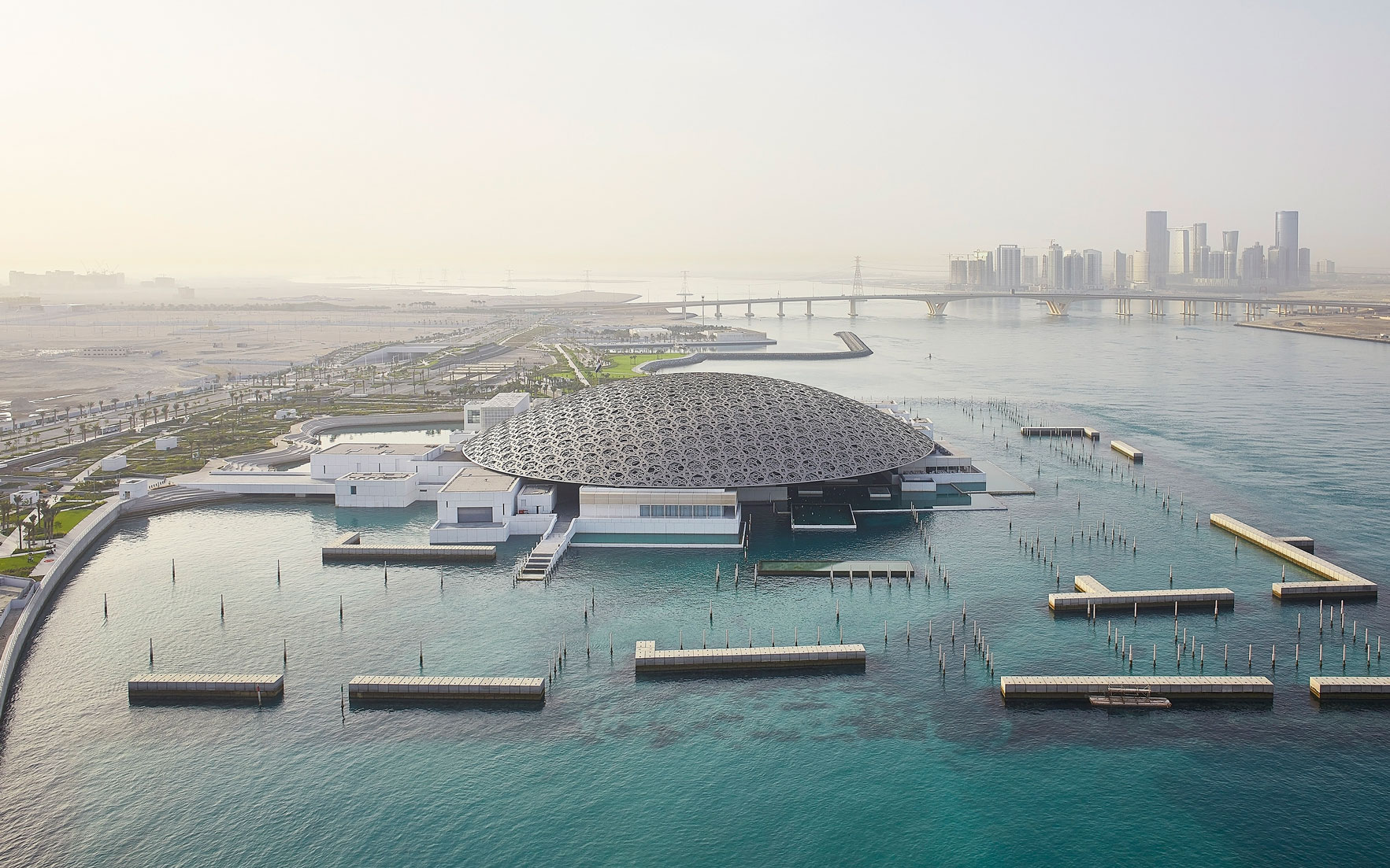 Aerial view of the Louvre Abu Dhabi. Photo © Department of Culture and Tourism - Abu Dhabi. Photography by Hufton+Crow