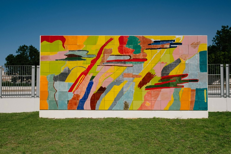 Etel Adnan, Untitled, 2019, a ceramic wall installation in Abu Dhabi's Special Olympics Garden. Photo Anna Nielsen