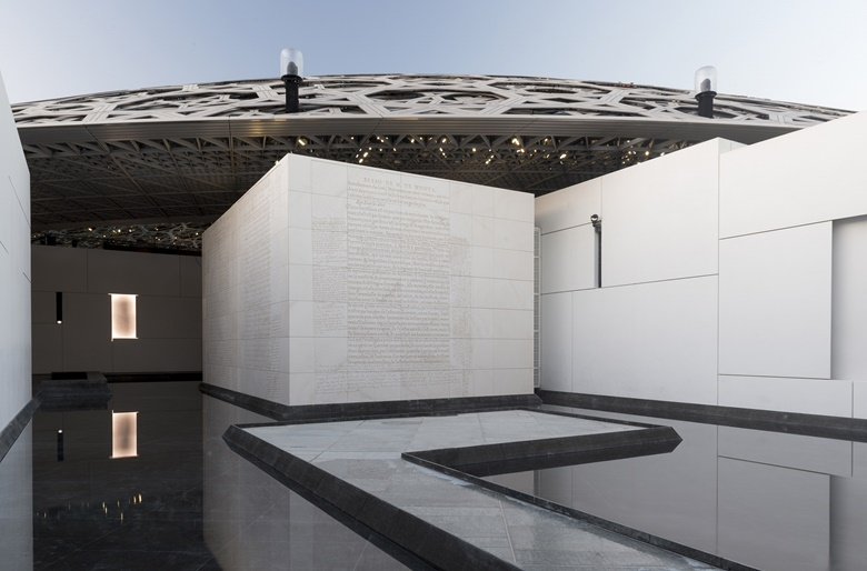 Jenny Holzer at Louvre Abu Dhabi. Photo © Department of Culture and Tourism - Abu Dhabi. Photography by Marc Domage. Artwork © Jenny Holzer, DACS 2020.