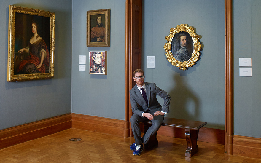 Nicholas Cullinan at the National Portrait Gallery exhibition Elizabeth Peyton Aire and Angels. Photo © Angela Moore. Artworks, left to right Mary Beale, Mary Beale, circa 1666; Gwen