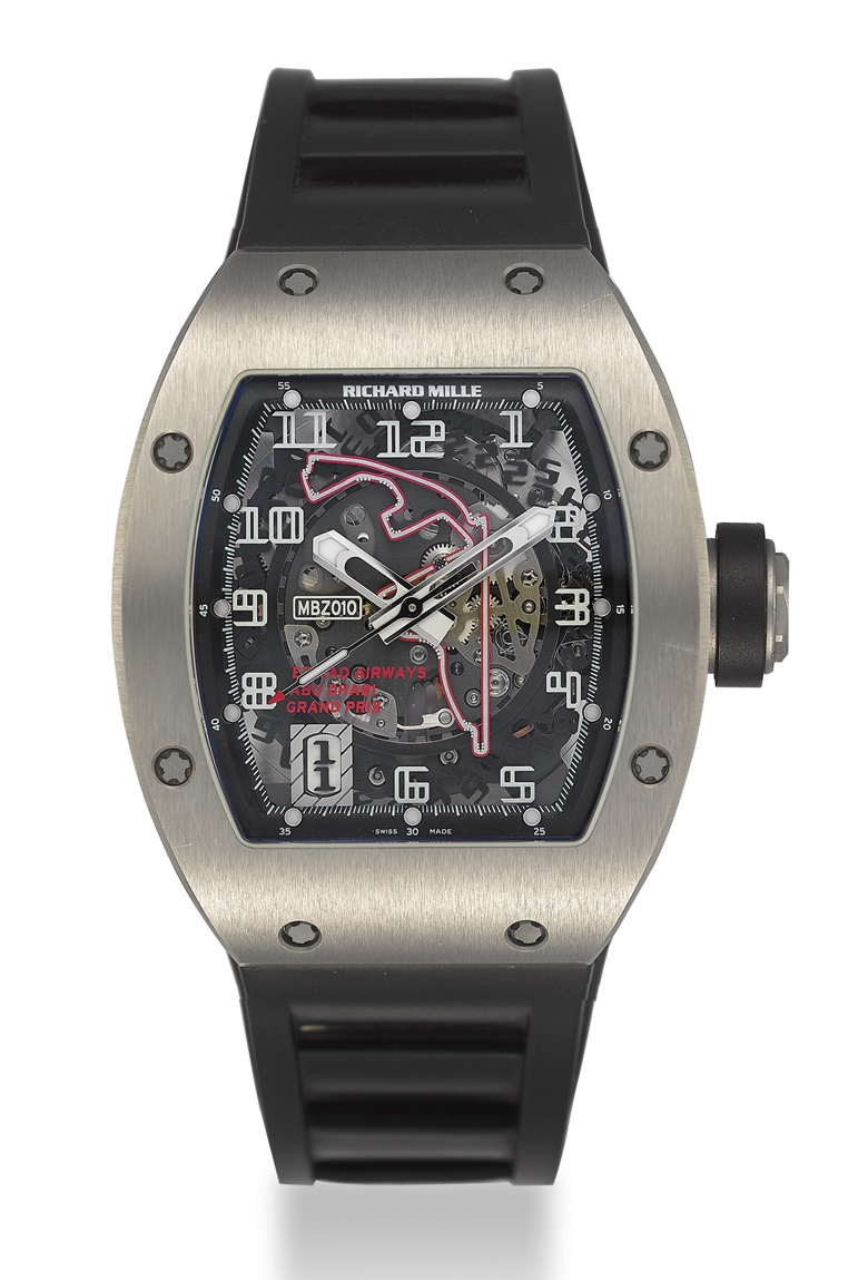 Richard Mille. A rare and impressive titanium automatic skeletonized limited edition wristwatch with sweep centre seconds, date, 'Abu Dhabi Yas Marina Circuit' and original warranty – made for 1st Abu Dhabi Grand Prix, signed Richard Mille, MBZ010, ref. RM010 AI TI, limited edition, no. 081200, case no. 2793, circa 2009. Estimate $45,000–65,000. Offered in Important