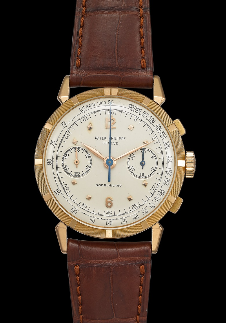 Patek Philippe. A unique and highly important 18k pink gold 'spider lugs' chronograph wristwatch with tachymeter and engraved bezel, confirmed as the only example ever made signed Patek Philippe, Geneve, retailed by Gobbi Milano, ref. 1579R, movement no. 868'845, case no. 693'233. Manufactured in 1955. Estimate $400,000-700,000. Offered in Important Watches on 11 April 2020