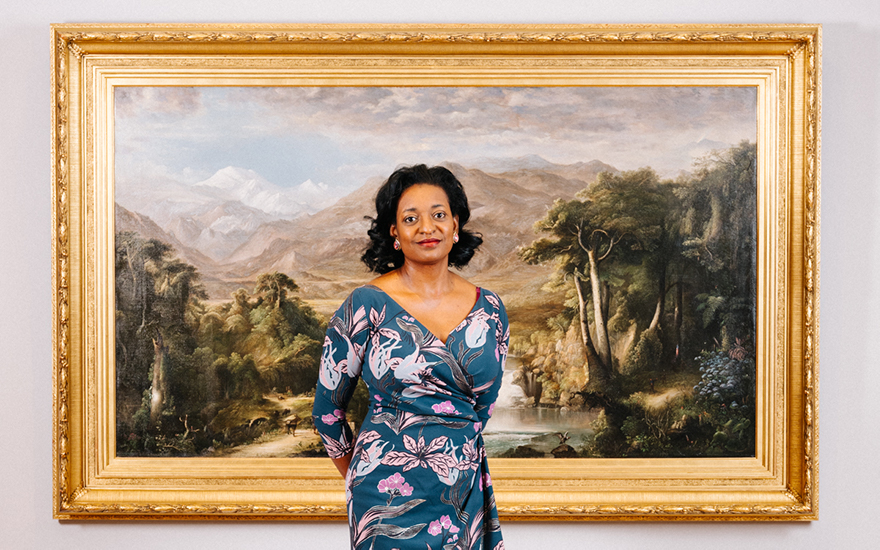 Belinda Tate with Robert Seldon Duncanson's, Heart of the Andes, 1871. Photographed in the Kalamazoo Institute of Arts, Michigan. Photo David Kasnic