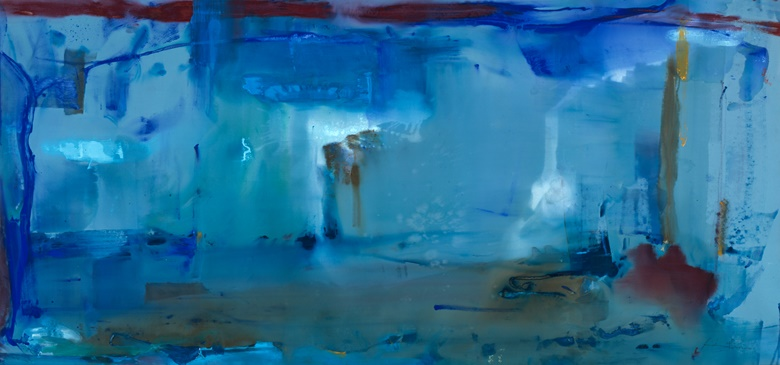 Helen Frankenthaler, Code Blue, 1980. Acrylic on canvas. Image 6 ft 7¼ in x 14 ft 2¼ in (201.3 x 432.4 cm). Collection of the Kalamazoo Institute of Arts, Purchase, National Endowment for the Arts Matching Museum Purchase Grant and donation from anonymous donor. © Helen Frankenthaler Foundation, Inc.  ARS, NY and DACS, London