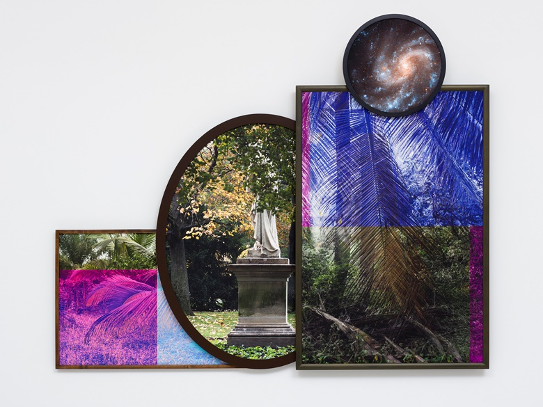 Todd Gray, Euclidean Gris Gris (Tropic of Entropy), 2019. Four archival pigment prints in artist's frames. 73¾ x 90 x 4½ in. Courtesy of the artist, David Lewis, New York, and Meliksetian  Briggs