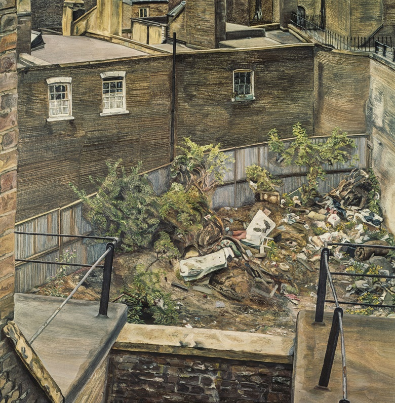 Lucian Freud (1922-2011), Waste Ground, Paddington, 1970. Oil on canvas. 28 x 28  in (71.1 x 71.1  cm). Sold for $7,781,000 on 12 November 2014 at Christie's in New York. © The Lucian Freud Archive  Bridgeman Images