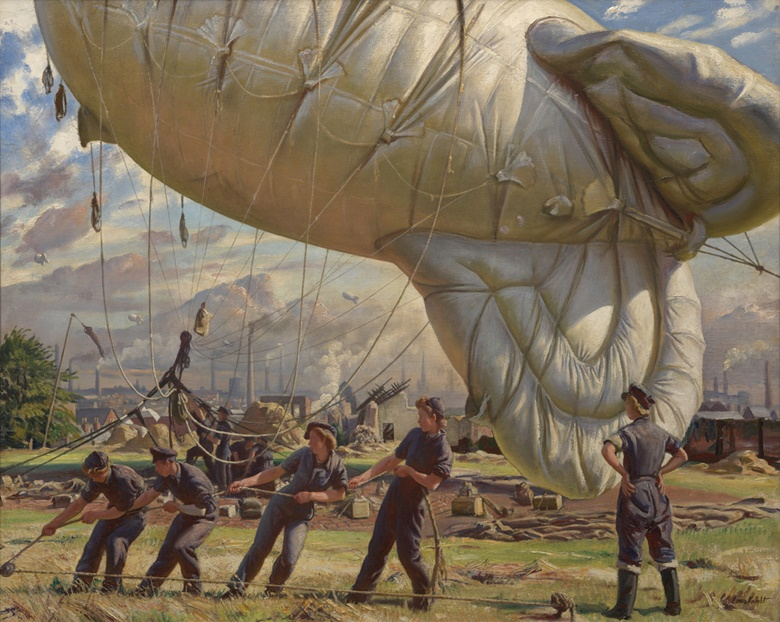 Laura Knight, A Balloon Site, Coventry, 1943. Imperial War Museum, London. Photo Bridgeman Images