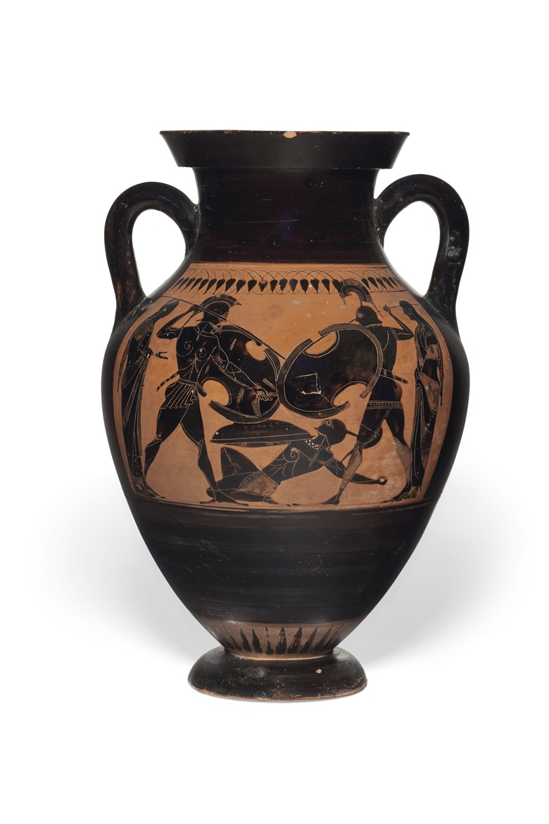 An Attic black-figured amphora (type b), attributed to the Bateman Group, circa 520 BC. 17¼ in (43.8 cm) high. Estimate $80,000-120,000. Offered in Antiquities on 2-16 June 2020 online