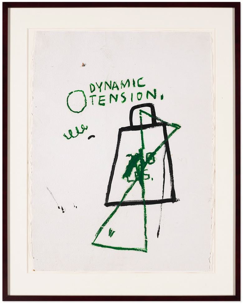 Jean-Michel Basquiat (1960-1988), Untitled (Dynamic Tension), executed circa 1985. Oil and oilstick on paper. 31¼ x 24 in (79.4 x 61 cm). Sold in private sale. View post-war and contemporary art currently offered for private sale at Christie's. Artwork © The Estate of Jean-Michel Basquiat  ADAGP, Paris and DACS, London 2020