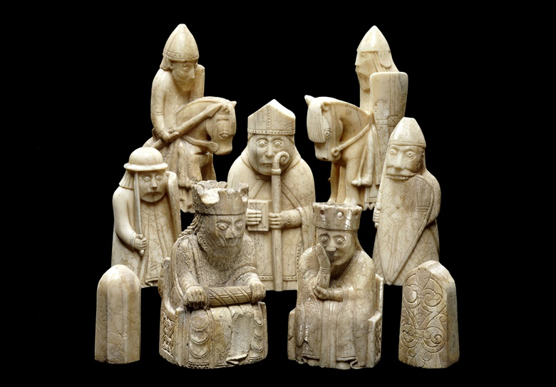 The 12th-century Lewis Chessmen. Photo © The Trustees of the British Museum