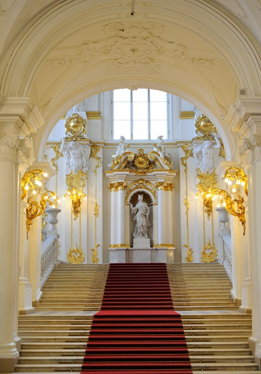 The 19th-century Jordan Staircase, Winter Palace, State Hermitage Museum, St Petersburg. Photo Tarker  Bridgeman Images
