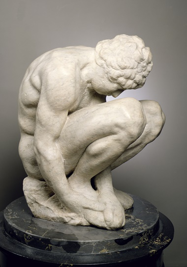 Michelangelo Buonarroti, Crouching Boy, circa 1530-34. Marble, height 54 cm.  State Hermitage Museum, St Petersburg. Photo Bridgeman Images