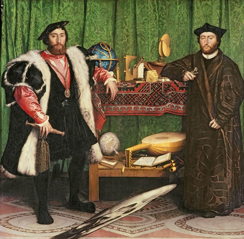 Hans Holbein the Younger (14978-1543), The Ambassadors, 1533. Oil on panel. 207 x 209.5 cm. National Gallery, London. Photo Bridgeman Images