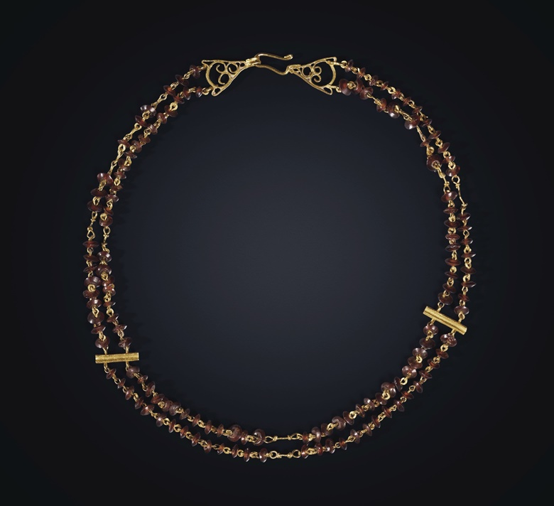 A Roman gold and garnet bead necklace, circa 3rd-4th century AD. 13⅛ in (33.3 cm) long. Sold for $8,125 on 16 June 2020, Online
