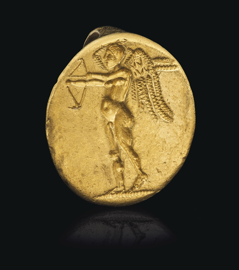 A Greek gold finger ring with Eros, Hellenistic Period, circa late 4th century BC. ⅞ in (2.2. cm) wide. Sold for $22,500 on 16 June 2020, Online