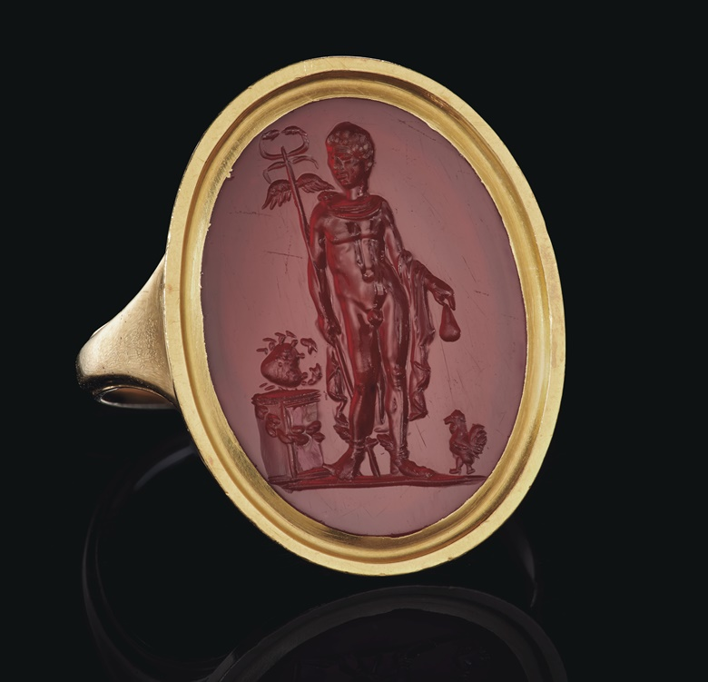 A Roman carnelian ringstone with Mercury, circa 1st century AD. ¾ in (1.9 cm) long. Sold for $100,000 on 16 June 2020, Online