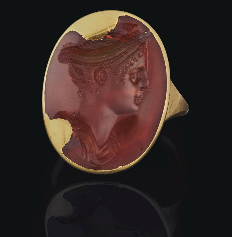 A Roman carnelian ringstone with a portrait of the Empress Sabina, circa 130 AD. ⅞ in (2.2. cm) long. Sold for $250,000 on 16 June 2020, Online