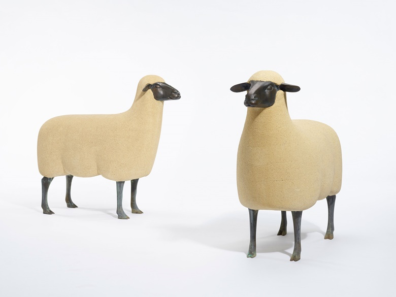François Xavier Lalanne (1927-2008), Mouton de Pierre, 1988. Each 34 x 37½ x 13½ in (36.5 x 95 x 34 cm). Offered for private sale at Christie's. View works from the Design department currently offered for private sale at Christie's. Les Lalanne © 2020 Artist Rights Society (ARS), New York NYADAGP Paris