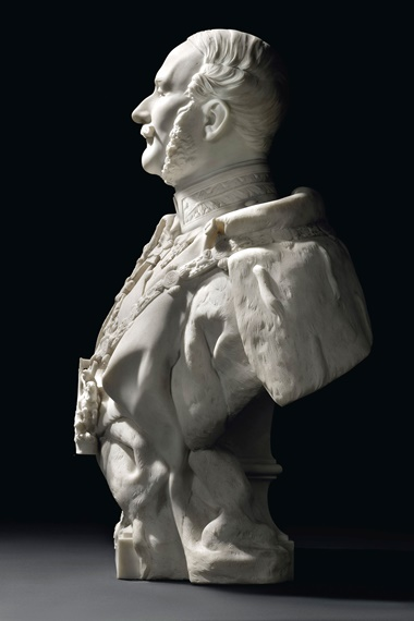 Jean-Baptiste-Claude-Eugène Guillaume (French, 1822-1905), King George V of Hanover (1819-1878). Carrara marble. 37¼ in (95.6 cm) high; 29½ in (75 cm) wide; 16½ in (42cm) deep. Offered for private sale at Christie's. View decorative arts currently offered for private sale at Christie's