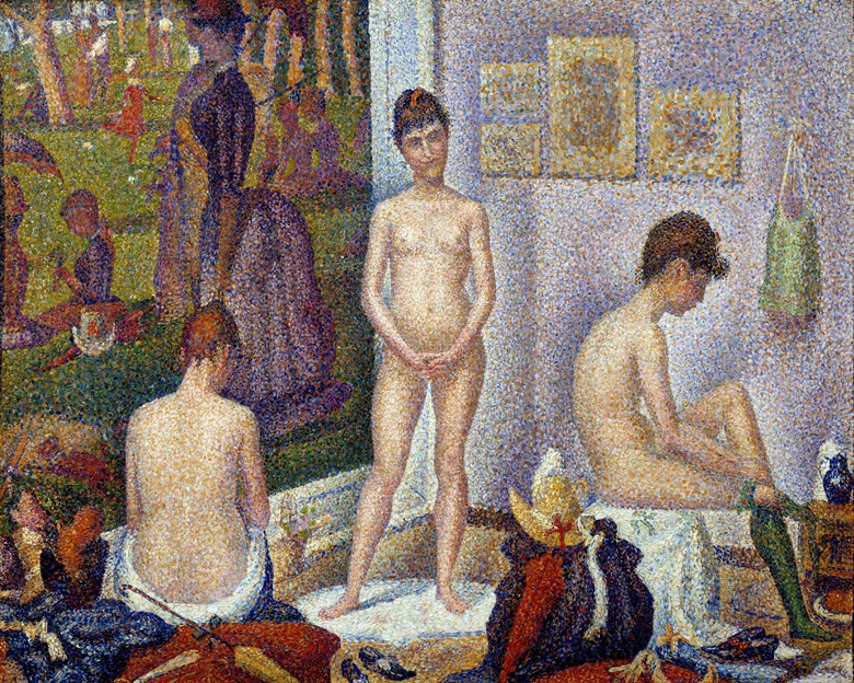 Georges Seurat, Les Poseuses (petite version), 1886-88. Oil on canvas. 35.5 x 49 cm. Private Collection. Photo JosseScala Florence