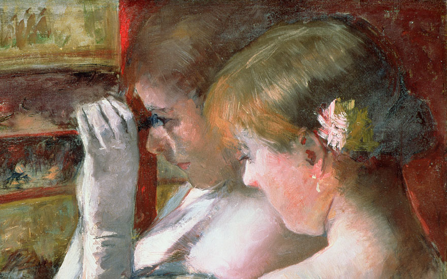 Mary Cassatt, In the Box, c. 1879 (detail). Oil on canvas. 43.7 x 62.2 cm. Private Collection