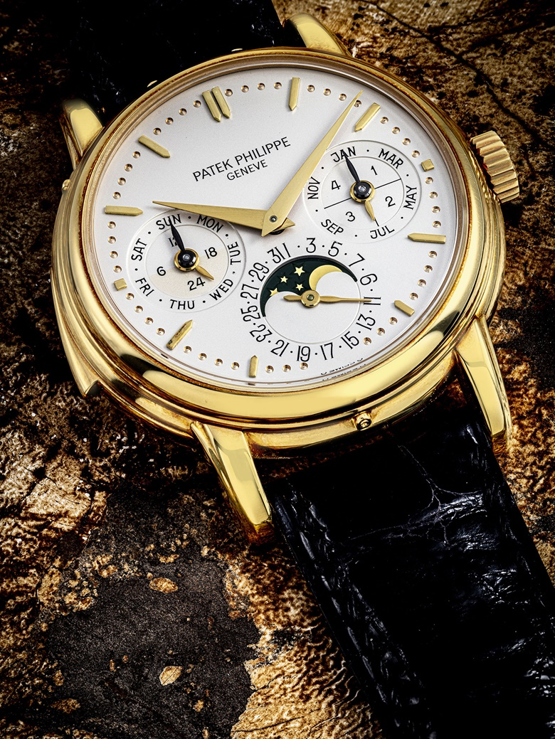 Patek Philippe. A very rare 18k gold automatic minute repeating perpetual calendar wristwatch with moon phases, 24 hour, leap year and daynight indication, circa 1991. Signed Patek Philippe, Geneve, ref. 3974, movement no. 1906032, case no. 2867129. Estimate HK$2,700,000-4,200,000. Offered in IMPORTANT WATCHES Including The Titanium Collection and an Important Private Asian Collection Part 3 on 13