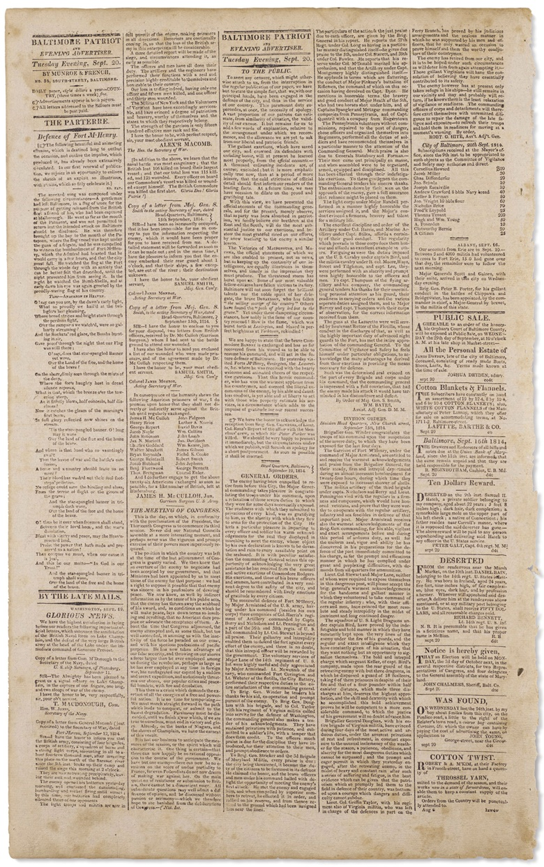 Page 2 of Volume IV, Number 59 of the Baltimore Patriot, with the text of The Star Spangled Banner on the left, under the headline 'The Defence of Fort M'Henry'
