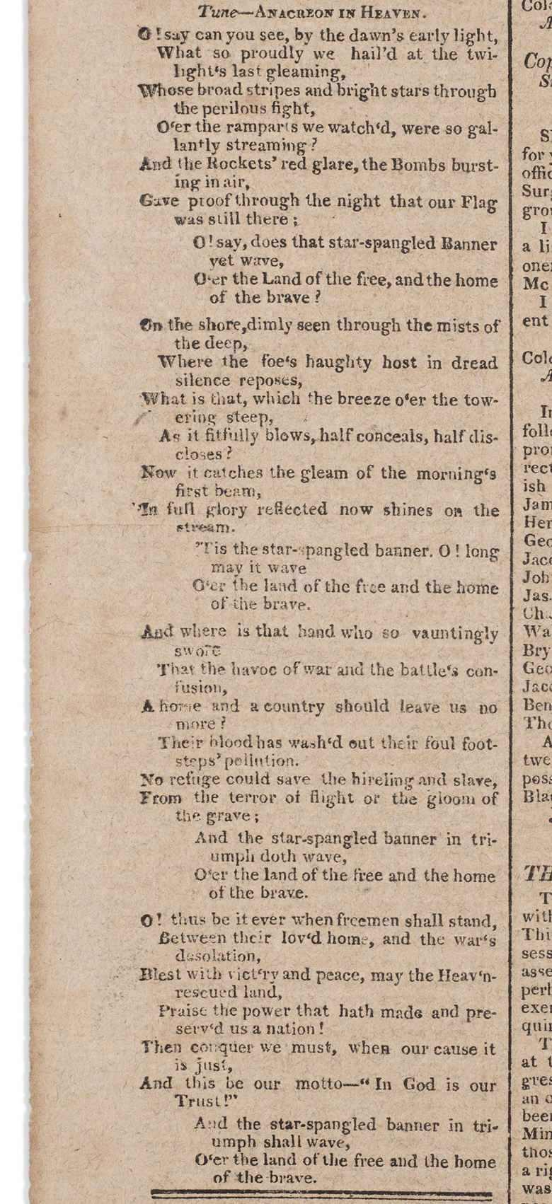 The first dated printing of The Star Spangled Banner, Francis Scott Key, 20 September 1814. Printed in the Baltimore Patriot and Evening Advertiser, Vol IV, No. 59. Sold for $325,000 on 18 June 2020, Online