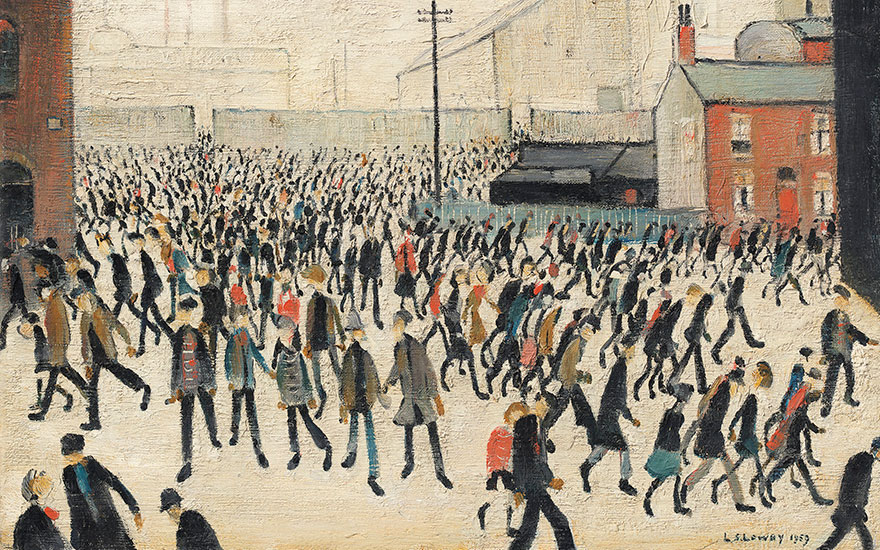 Laurence Stephen Lowry, R.A. (1887-1976), Coming from the Match, 1959. Oil on canvas. 12 x 16 in (30.5 x 40.6 cm). Sold for £2,051,250, 2 Jul 2020, Online